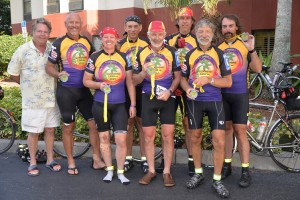 Inaugural Sunshine 1200K preriders at the finish: Ed, Marion, Terry, Dick, Mark, Dave, and John