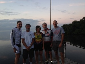 """Coasters"" fleche team, 2015 at the finish: John, Dave, Melanie, Wayne, and Paul"